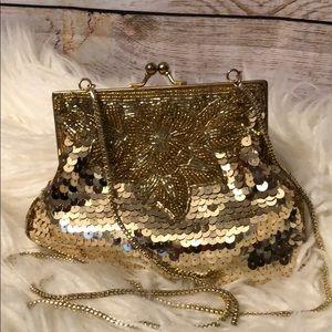 La Regal Vintage Gold Sequined Evening Bag